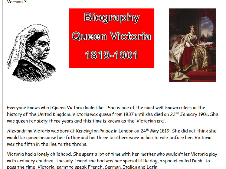 KS2 Biography of Queen Victoria simplified into three differentiated pieces for HA, MA, LA