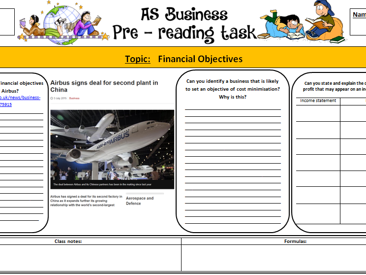 New A-Level Business: Student Pre-reading sheet - Finance Objectives