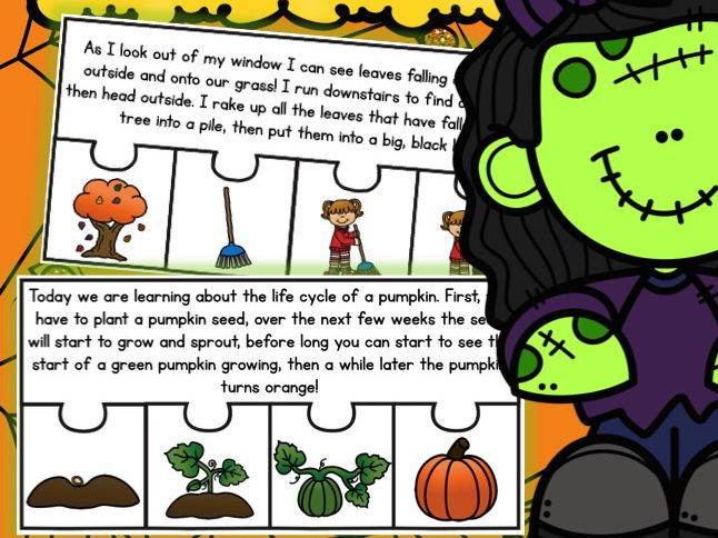 October Short Story Sequencing Jigsaws