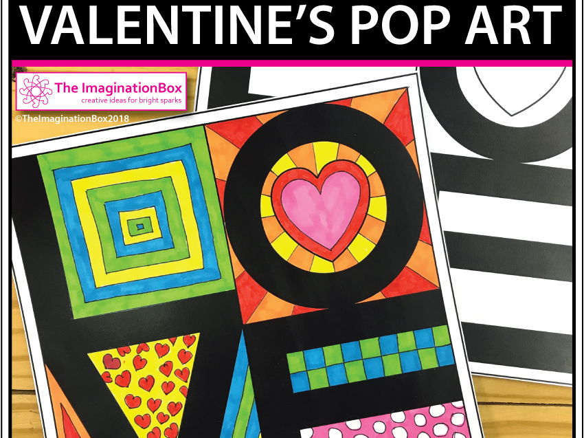 Valentines Day colouring pages - Pop Art activity