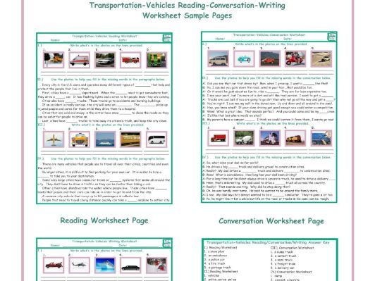 Transportation-Vehicles Reading-Conversation-Writing Worksheets