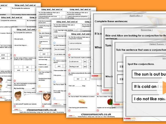 Grammar Year 1 Using 'and', 'but' and 'or' Spring Block 1 Step 8 Lesson Pack