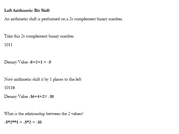 Binary Shifts Logical and Arthmetic Tests and Revision GCSE Computer Science