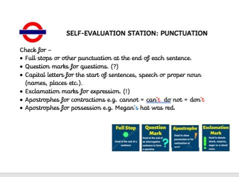 Year 2 Self Evaluation Station Cards
