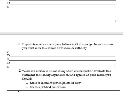 GCSE RS SHORT COURSE -Edexcel -Spec B- Judaism Revision Workbook- Summary Questions