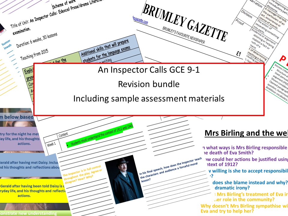 An Inspector Calls Exam revision AQA new specification 8-1 with sample assessment materials perfect for revision