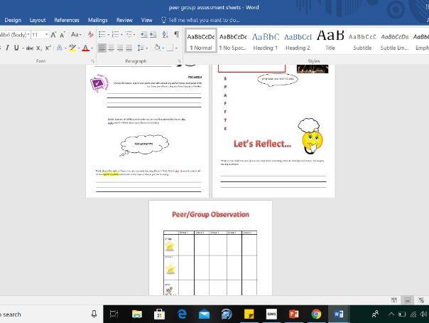 Peer Assessment Sheets, Dance