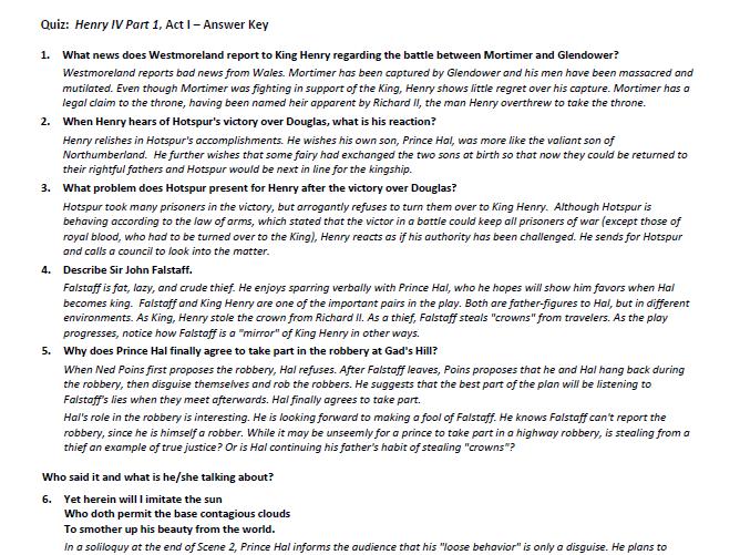 Henry IV, Part One Quiz Set & Answer Key