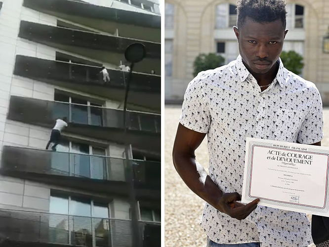 Mamoudou Gassama French Spiderman rescues child in Paris