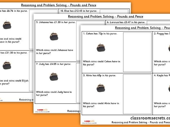 Year 3 Pounds and Pence WRM Spring Block 2 Reasoning and Problem Solving Pack