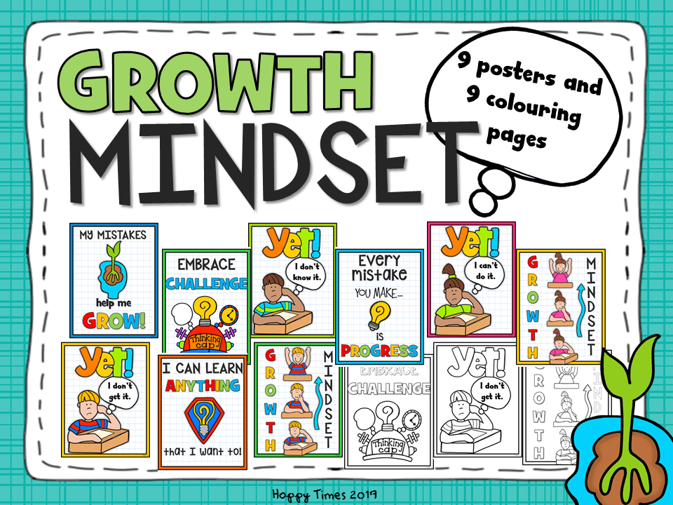Growth Mindset Posters and Colouring Pages