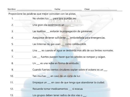 Natural Disasters and Emergencies Matching Spanish Worksheet