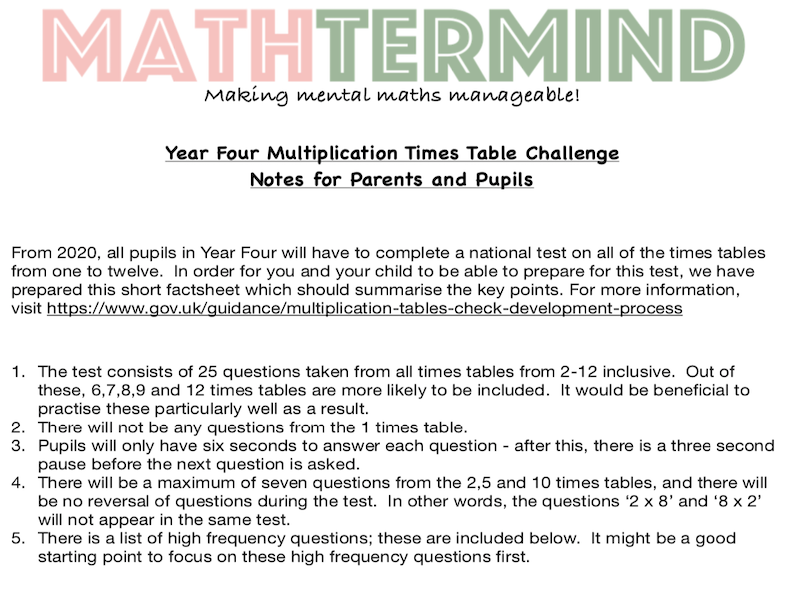 Y4 MTC (Multiplication Times Tables Challenge)  Preparation