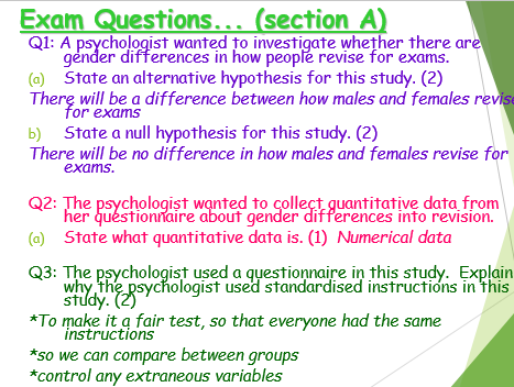Research methods revision- Exam practice!