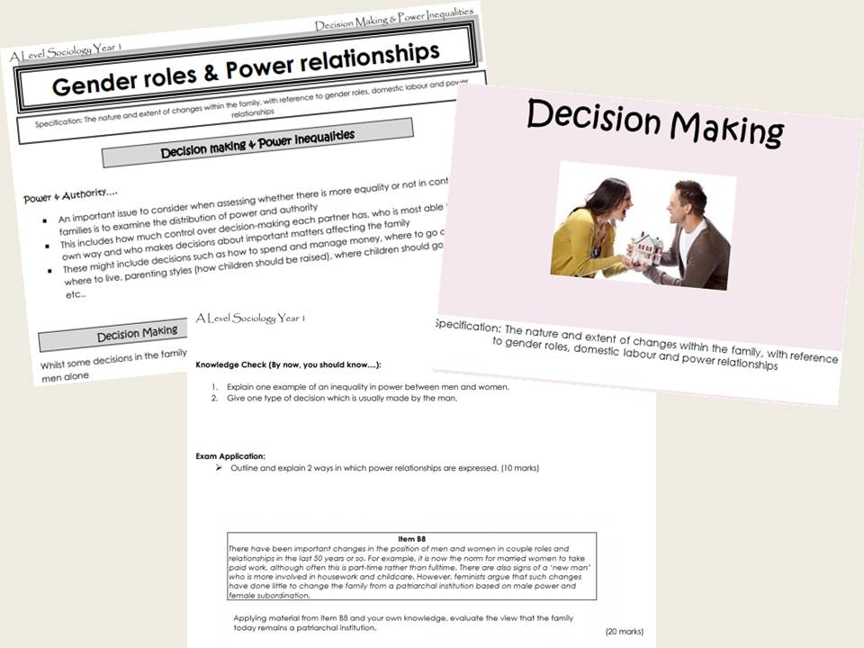 AQA Sociology - Year 1- Families & Households - Decision Making