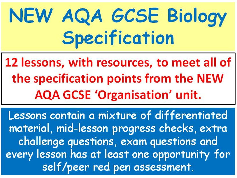 NEW AQA GCSE Biology - 'Organisation' lessons