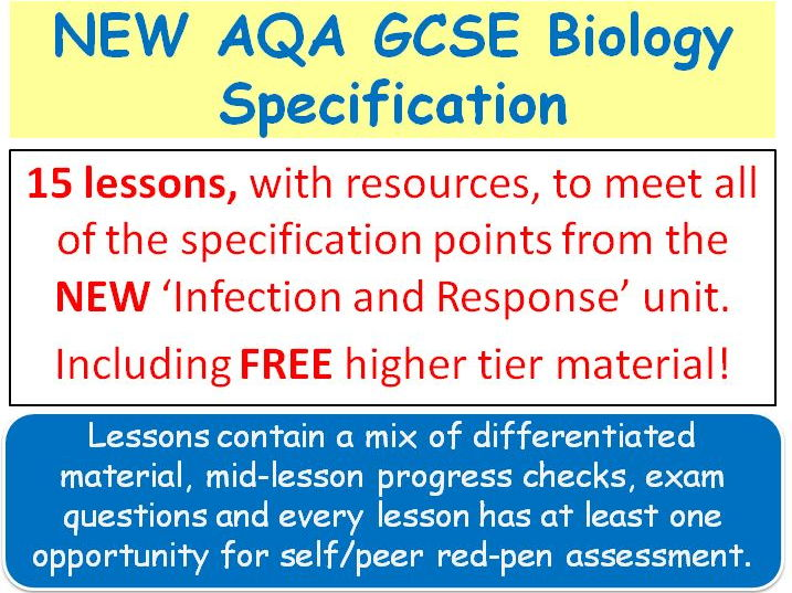 NEW AQA GCSE Biology - 'Infection & Response' lessons