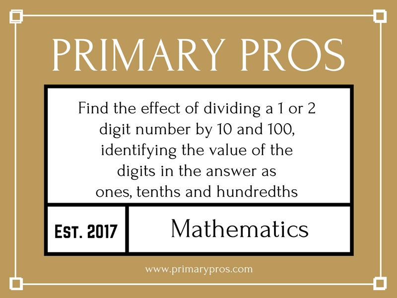 Find the effect of dividing a one- or two-digit number by 10 and 100, identifying the value of the