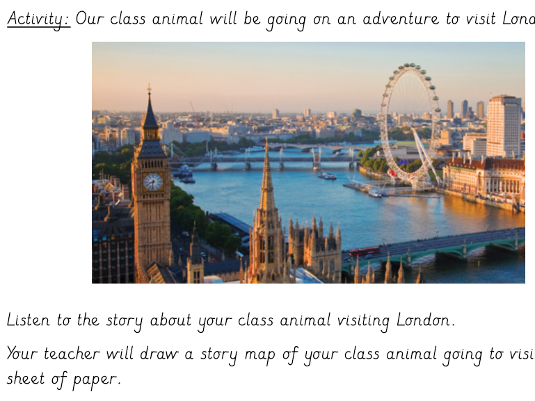 Class animal London adventure story writing plan Bright Lights Big City with geography vocabulary