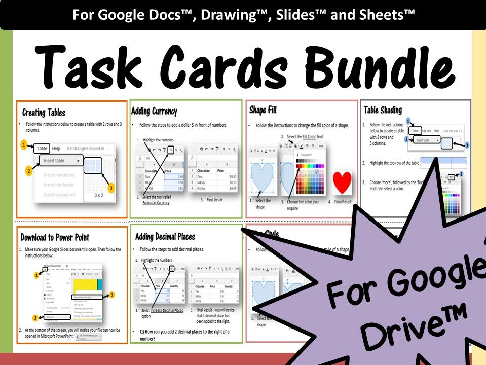 Google Drive Task Cards Bundle