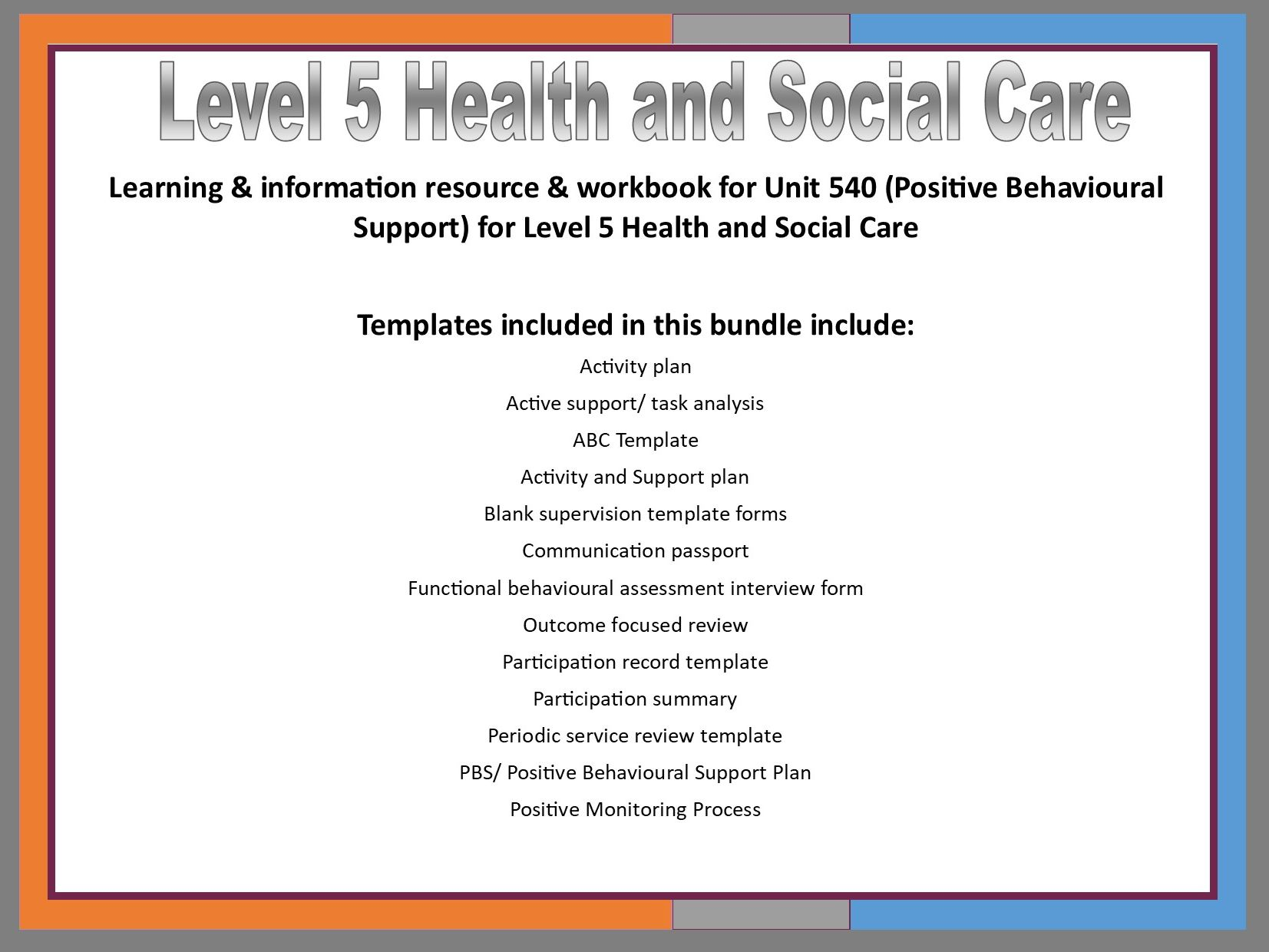 Positive Behavioural Support Bundle (Workbook, Learning Resource and Templates)