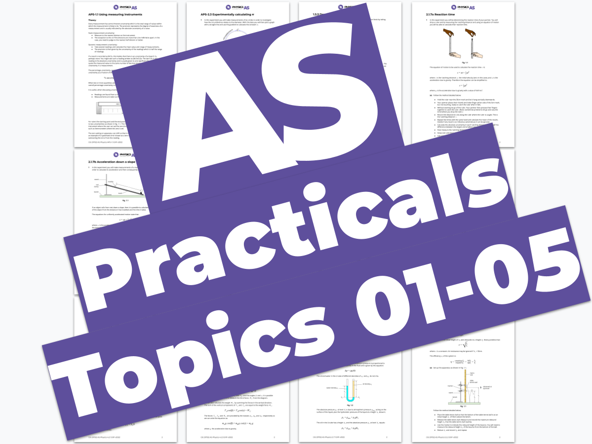 AS Physics 9702 - Practicals - Topics 01 to 05 + APS