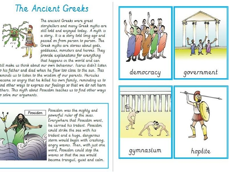 KS2 Ancient Greeks, Reading Task and Comprehensions with Vocab cards