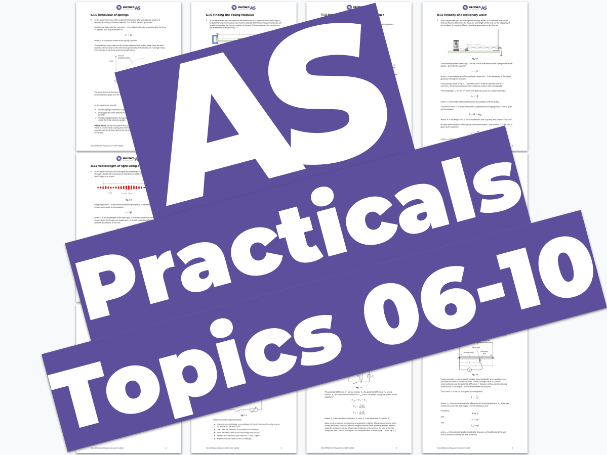 AS Physics 9702 - Practicals - Topics 06 to 10