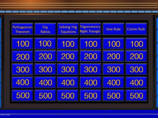 Jeopardy Review Template (Trigonometry Titles)