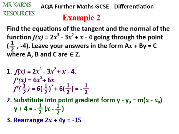 First Derivative / Equations of Tangents and Normals (Further Maths GCSE / A-Level)