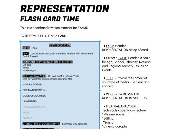 REVISION Flash card handout REPRESENTATION - Textual Analysis, stereotype, countertype & ideology