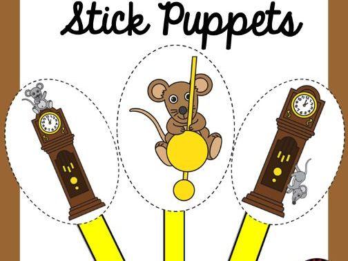 Hickory Dickory Dock Stick Puppets