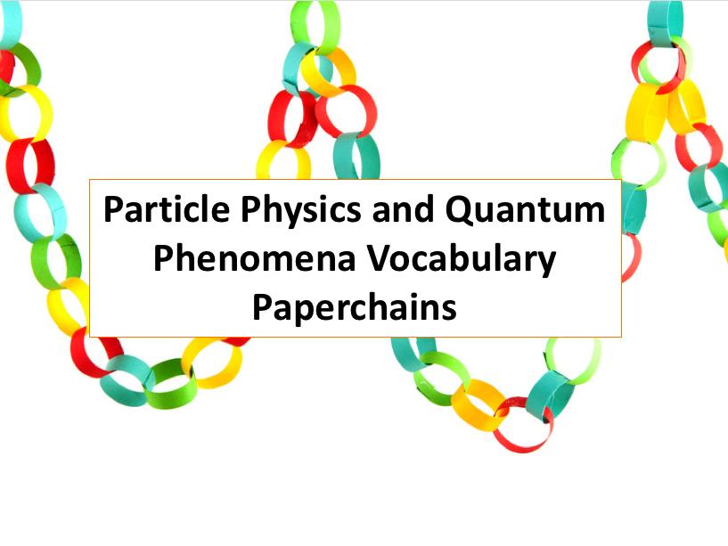Particle Physics and Quantum Phenomena Vocabulary Paperchain (Christmas Activity)