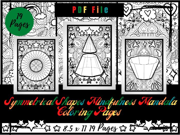 Symmetrical & Polygons Mindfulness Mandala Colouring Pages, Geometric Colouring
