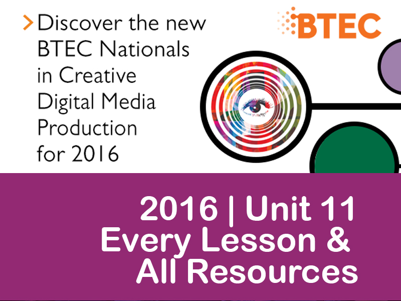 BTEC National in Creative iMedia 2016 Spec - UNIT 11 - ALL RESOURCES & LESSONS