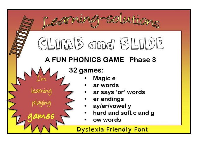 CLIMB AND SLIDE BOARD GAMES - Phonics - Phase 3 - 32 games - Magic e and more