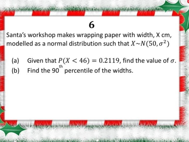 Christmas relay for year 13 stats and mechanics