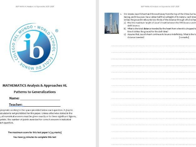 IB HL Analysis and Approaches Unit test