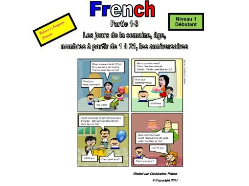 French for Adults: Beginners: Part 3: Days of the week, numbers 1-21, age, birthdays