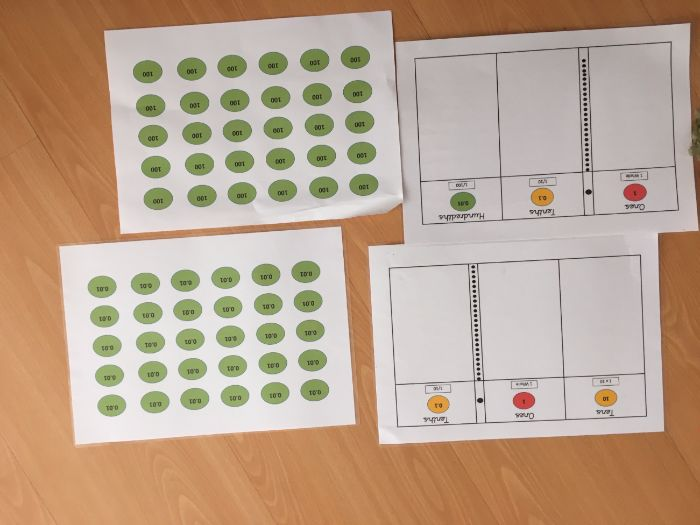 Place value mats and counters