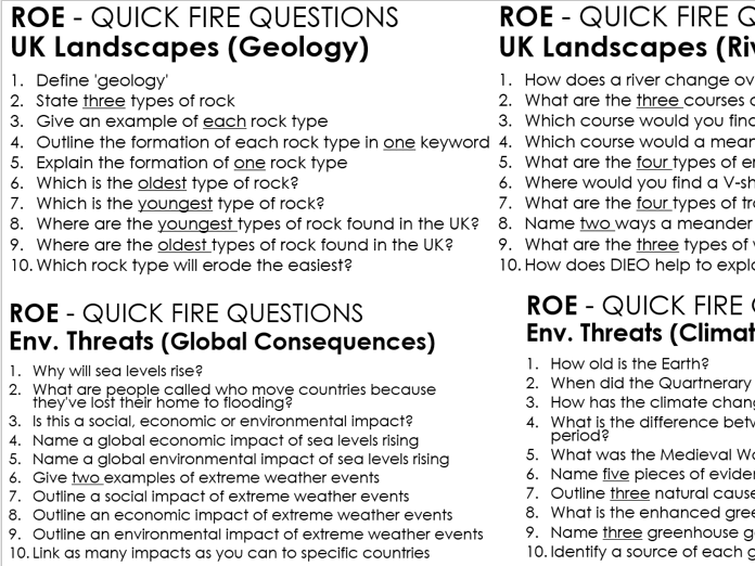 Geography OCR A Paper 1 and 2 Quick Fire Questions