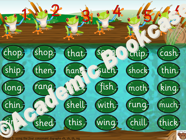 Frog and lily pad reading game - Phase 2 to 4