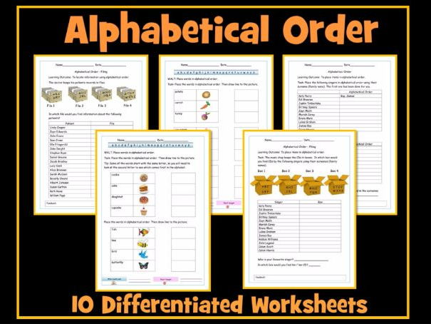 Alphabetical Order - Set of 10 Differentiated Worksheets