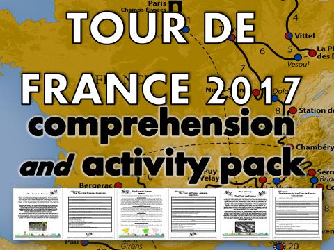 Tour de France 2017 Reading Comprehension, Crossword and Wordsearch Activity Pack  – lesson, quiz