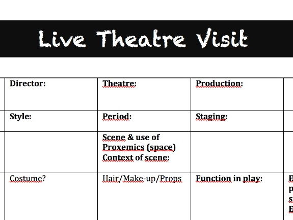 GCSE Live Theatre Visit worksheet