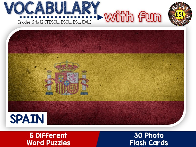 Spain - Country Symbols: 5 Different Word puzzles and 30 Photo flash cards (ESL, ELA, ELL, TESOL)