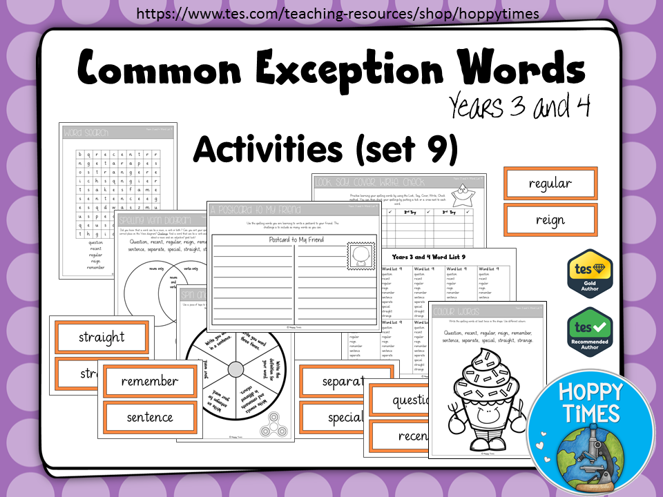 Year 3 / 4 Common Exception Words Spelling Activities (Set 9)