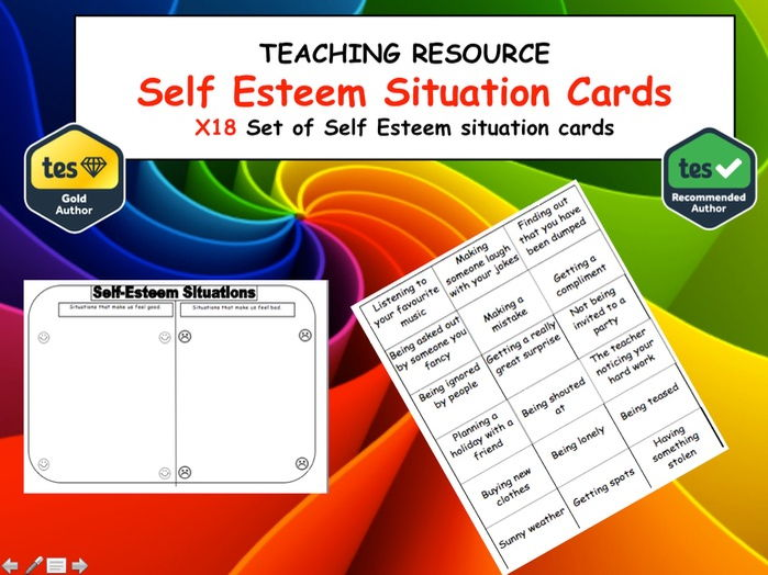 PSHE Self Esteem Situation Cards and Task Sheet.