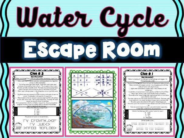 Water Cycle ESCAPE ROOM! - Earth Science - NO PREP, PRINT & GO!