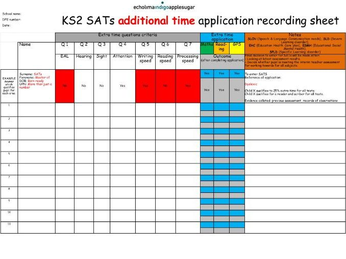 Year 6 Additional Time application recording sheet ON ONE PAGE
